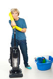 Müde Reinigungsälterfrau Stockfotografie