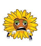 Müde Sonnenblumenkarikatur Lizenzfreie Stockbilder