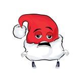 Müde Weihnachtshutkarikatur Lizenzfreie Stockbilder