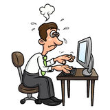 Müder Mann, der an dem Computer 2 arbeitet Lizenzfreie Stockbilder