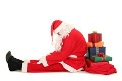 Müder Weihnachtsmann lizenzfreies stockfoto