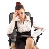 Müdes deprimiertes der Geschäftsfrau lokalisiert auf Weiß Stockbilder