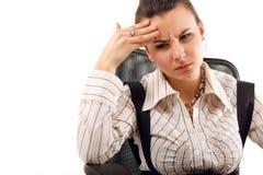 Müdes deprimiertes der Geschäftsfrau lokalisiert auf Weiß Stockbild