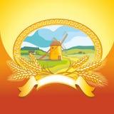 Mühle und Weizen lizenzfreie abbildung
