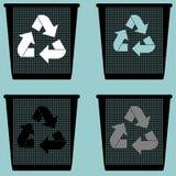 Mülleimer mit dem Zeichennutzungs-Eimereimer ruhig oder mit Metall für Papierikone vektor abbildung