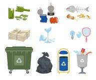 Mülleimer und Abfall auf weißem Hintergrund stock abbildung