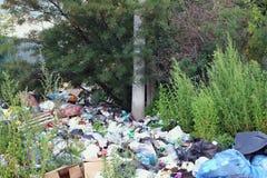 Müllkippe unter grünen Bäumen Lizenzfreie Stockfotografie