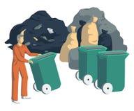Müllmann mit Taschen, Dosen, Behältern, Behältern und Stapel des Abfalls Getrennte Nachrichten auf weißem Hintergrund Abfall, der stock abbildung