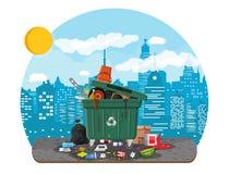 Mülltonne voll Abfall Überfließender Behälter stock abbildung