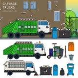 Müllwagen auf der Straße Lizenzfreie Stockfotos
