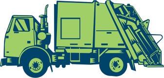 Müllwagen-hinteres Enden-Lader-Seiten-Holzschnitt Stockfotos