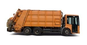 Müllwagen lokalisiert auf Weiß Lizenzfreie Stockfotos