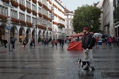 München, Deutschland, am 15. September 2018: Junger touristischer Mann mit einem Hündchen an den Straßen des Münchens lizenzfreie stockfotos