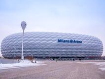 MÜNCHEN, DUITSLAND - 22 FEBRUARI 2018: De Allianz-Arena is het stadion van de huisvoetbal voor FC Bayern Munich met een capacitei Royalty-vrije Stock Afbeelding