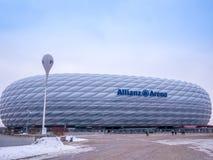 MÜNCHEN, DUITSLAND - 22 FEBRUARI 2018: De Allianz-Arena is het stadion van de huisvoetbal voor FC Bayern Munich met een capacitei Stock Fotografie