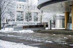 München, Duitsland - Februari 18 2018: De Duitse Bundesbank waarschuwt voor gevolgen van Zwarte Nul Royalty-vrije Stock Foto