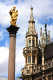 München, Duitsland, Mariensaule (Kolom van Maagdelijke Mary) Royalty-vrije Stock Foto