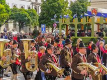 München, Duitsland - 22 September 2013 Oktoberfest, parade trompet stock fotografie
