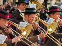 München, Duitsland - 22 September 2013 Oktoberfest, parade trompet royalty-vrije stock afbeelding