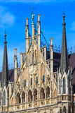 München, gotische Stadt Hall Facade Details, Bayern Stockbild