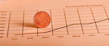 Münze auf Diagramm Stockbilder