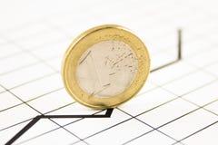 Münze auf einem Diagramm Stockfoto