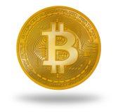 Münze Bitcoin BTC mit Logo lokalisiert auf Weiß lizenzfreie stockfotos