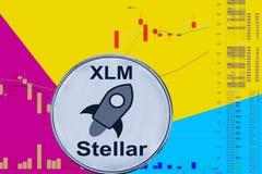 Münze cryptocurrency XLM auf Diagramm und gelbem blauem Neonhintergrund stockfoto