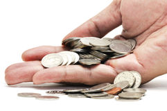Münze in der Hand Stockfotos