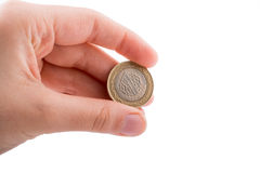 Münze in der Hand Stockbilder