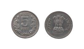 Münze der indischen Rupie fünf Stockfoto