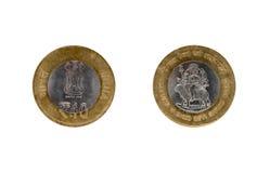 Münze der indischen Rupie zehn Stockbild