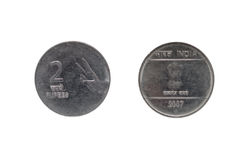 Münze der indischen Rupie zwei Stockfoto