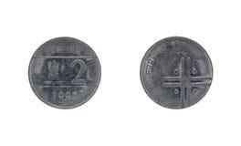 Münze der indischen Rupie zwei Lizenzfreies Stockfoto