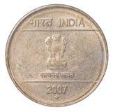 Münze der indischen Rupie zwei Stockbilder