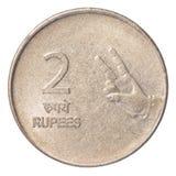 Münze der indischen Rupie zwei Stockfotos