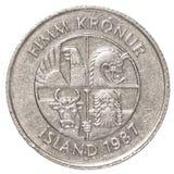 Münze der isländischen Krona 5 Lizenzfreies Stockbild