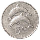Münze der isländischen Krona 5 Lizenzfreie Stockfotos