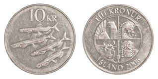 Münze der isländischen Krona 10 Stockbild