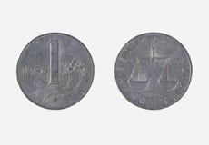 1 Münze der italienischen Lira Stockfoto