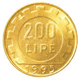 Münze der italienischen Lira 200 Lizenzfreies Stockbild