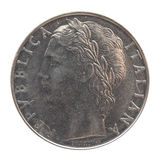 Münze der italienischen Lira lokalisiert über Weiß Stockfotos