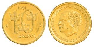 Münze der schwedischen Krona zehn Lizenzfreie Stockfotografie