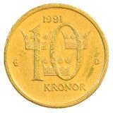 Münze der schwedischen Krona zehn Lizenzfreies Stockbild