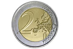 Münze des Euro zwei Stockbild