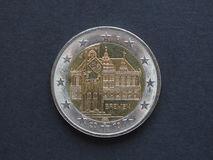 Münze des Euros 2 (EUR), Währung der Europäischer Gemeinschaft (EU) Lizenzfreie Stockbilder