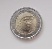 Münze des Euros zwei, die das Porträt von Giovanni Boccaccio trägt Stockbilder