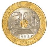 Münze des französischen Franken 20 Stockfoto