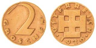 2 Münze des Groschens 1926 lokalisiert auf weißem Hintergrund, Österreich Stockbild