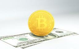 Münze des Metall- Bitcoins und Ethereum- stockbilder